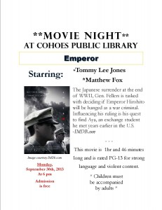 Movie Night at CPL: Emperor | Cohoes Public Library