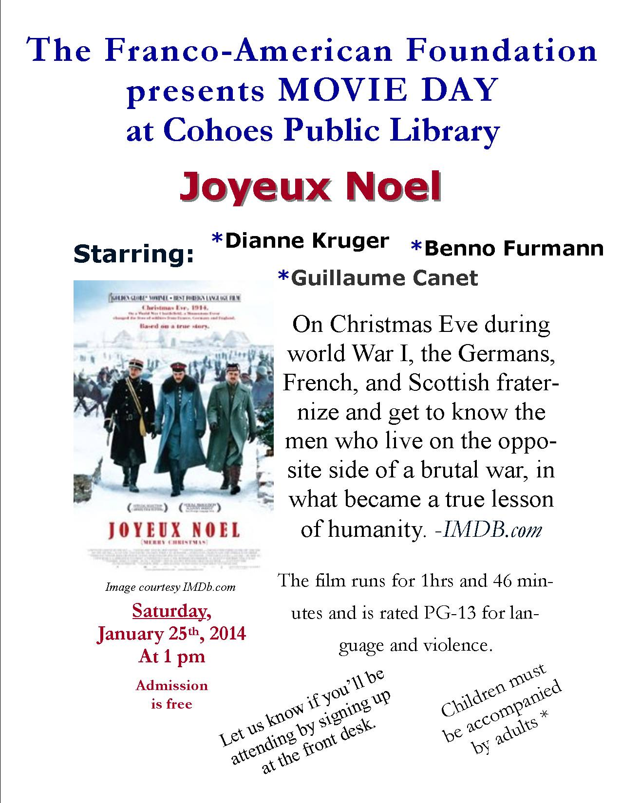 The Franco-American Federation presents the movie Joyeux Noel ...