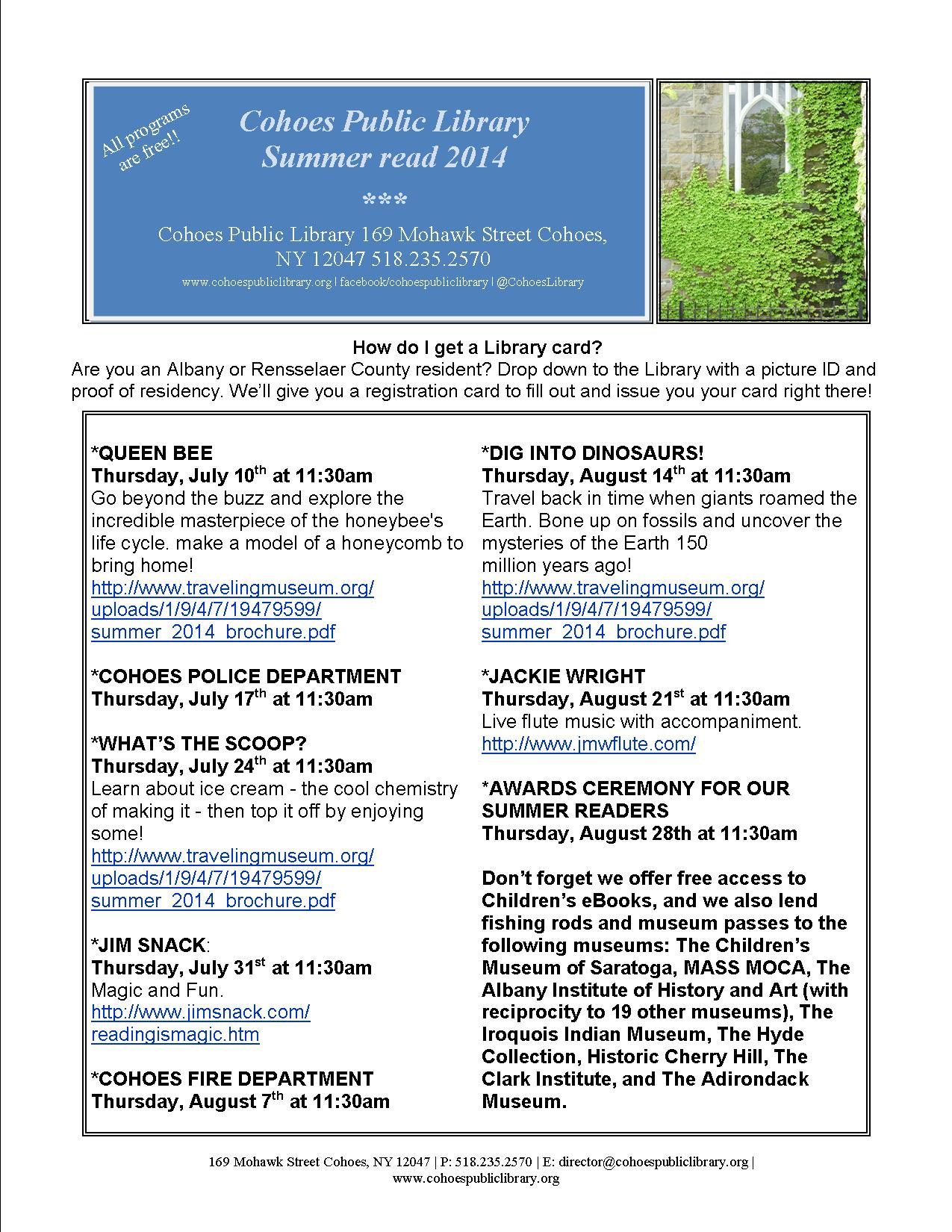 Summer Read Program Schedule Cohoes Public Library