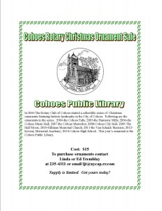 Cohoes Public Library Ornament Flyer