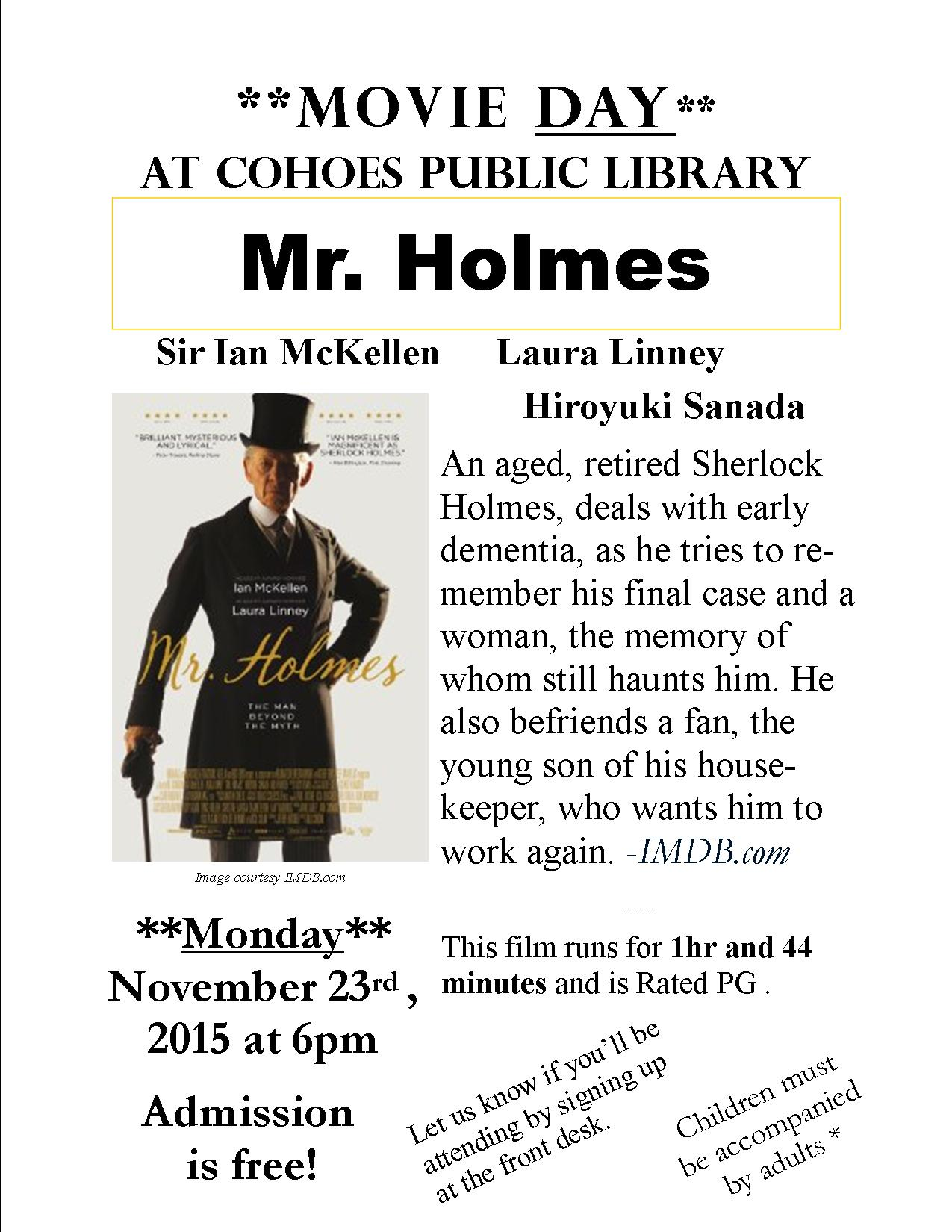 November Movie at Cohoes Public Library | Cohoes Public Library